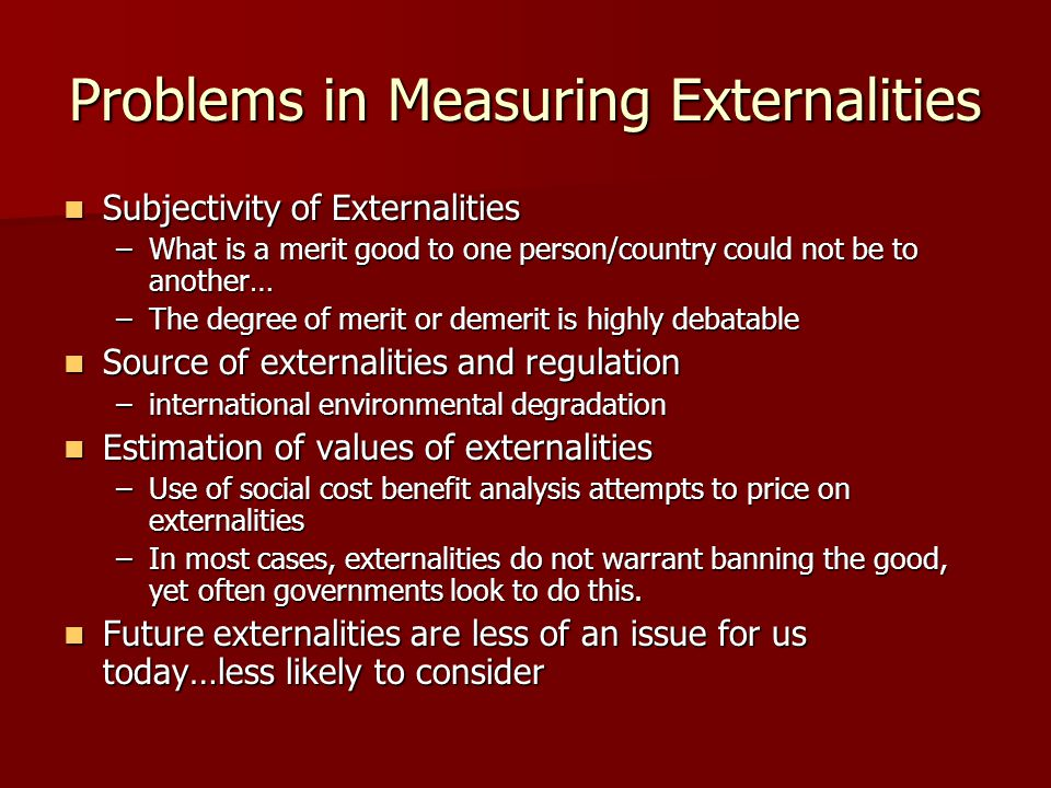 Problems in Measuring Externalities