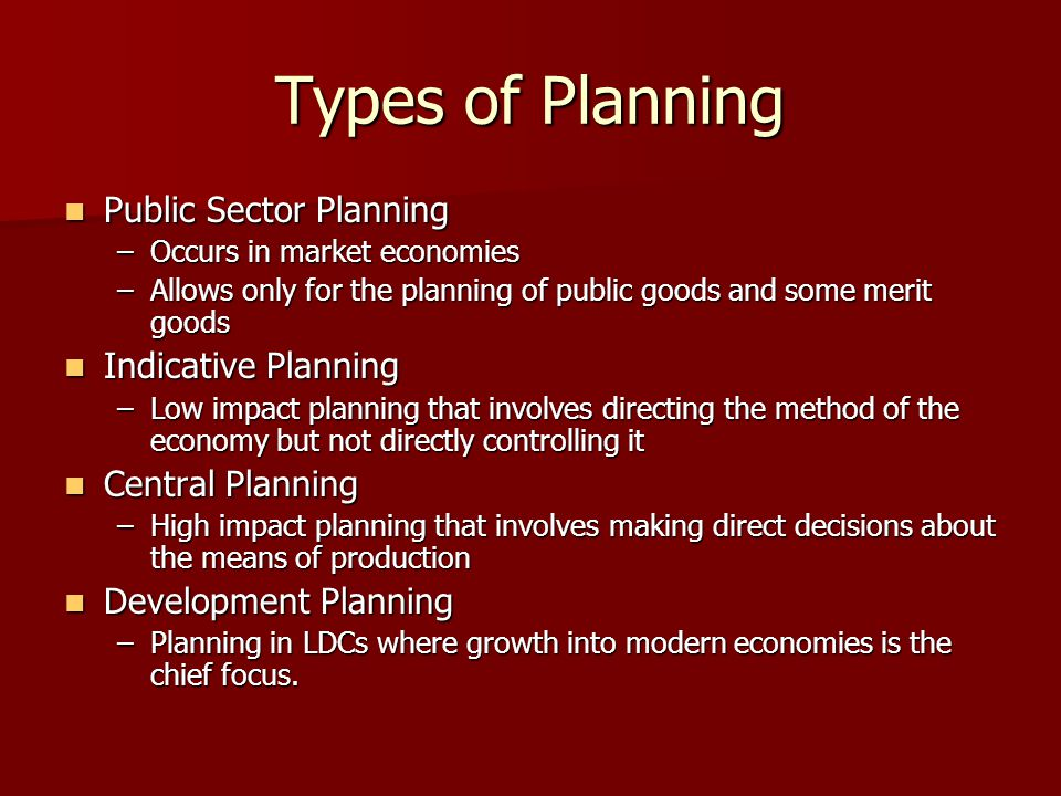 Types of Planning Public Sector Planning Indicative Planning