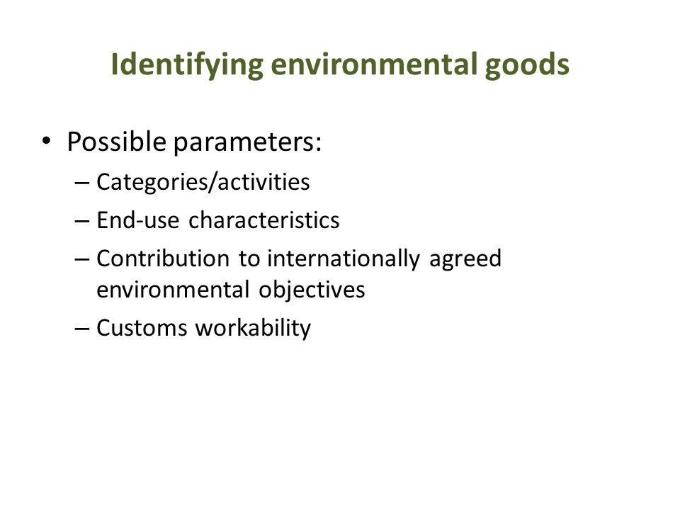 Identifying environmental goods
