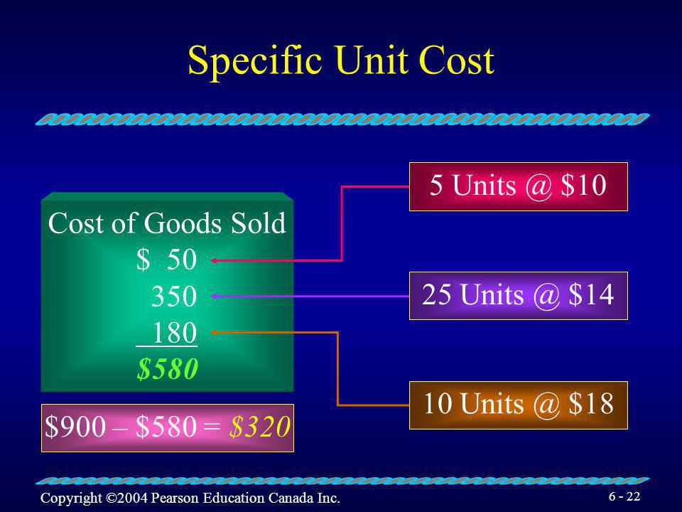 Specific Unit Cost 5 Units @ $10 Cost of Goods Sold $ 50 350 180 $580