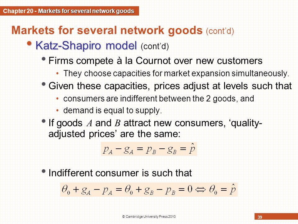 Chapter 20 - Markets for several network goods