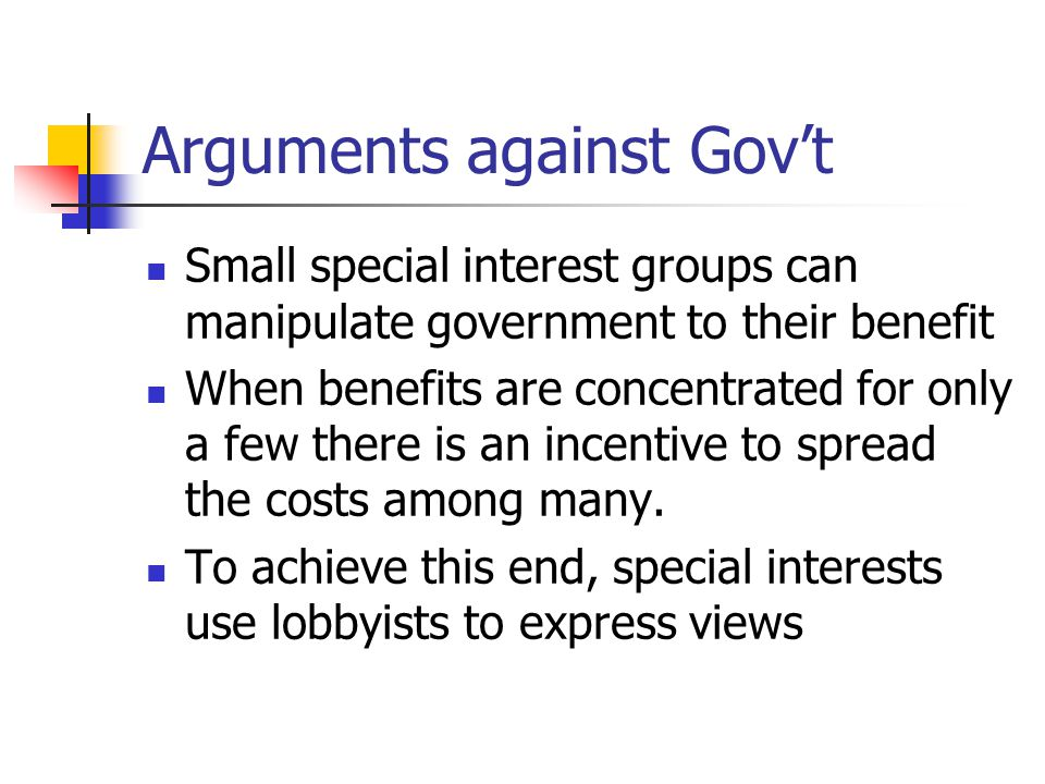 Arguments against Gov't
