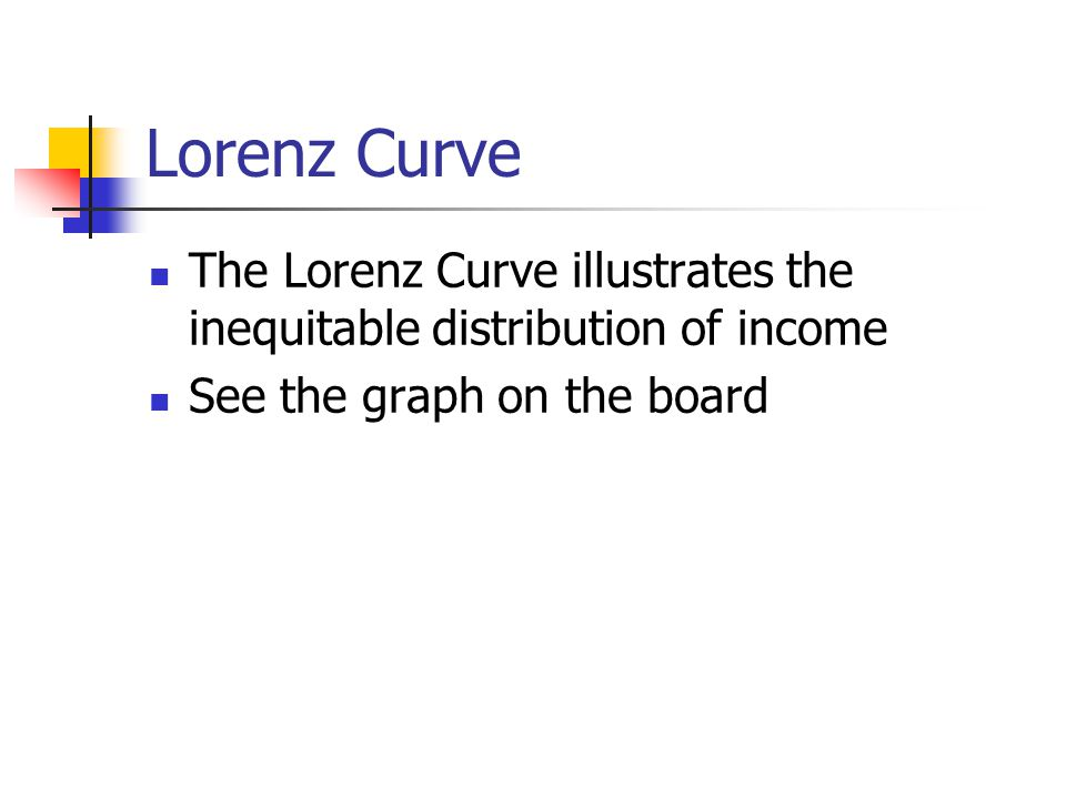 Lorenz Curve The Lorenz Curve illustrates the inequitable distribution of income.