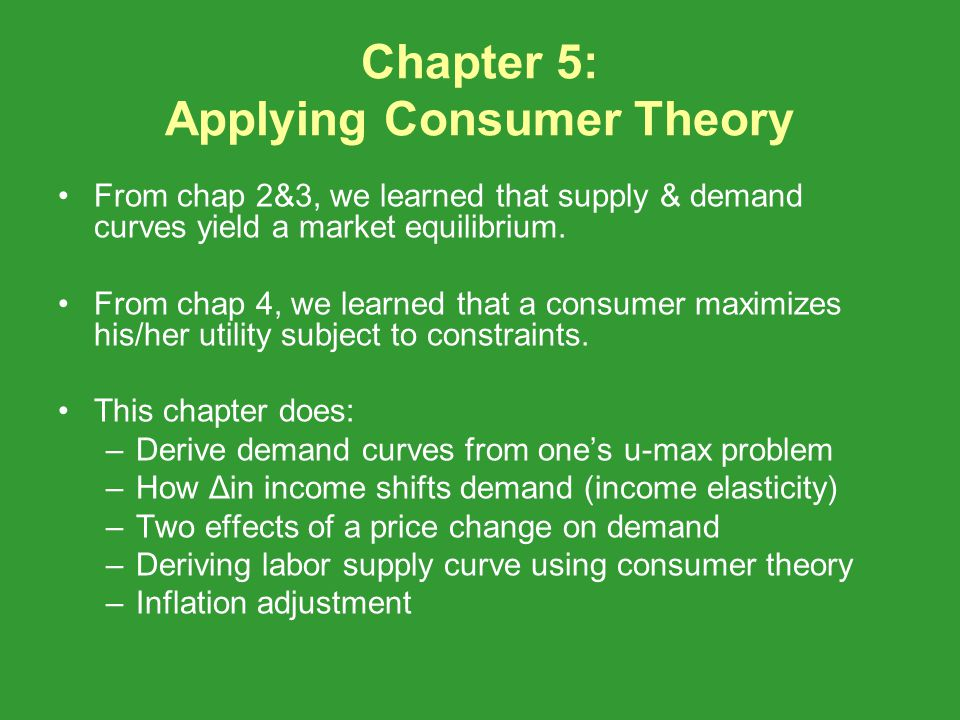 Chapter 5: Applying Consumer Theory