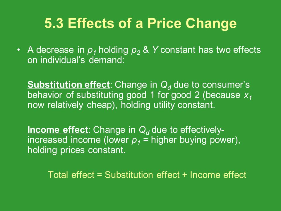 5.3 Effects of a Price Change