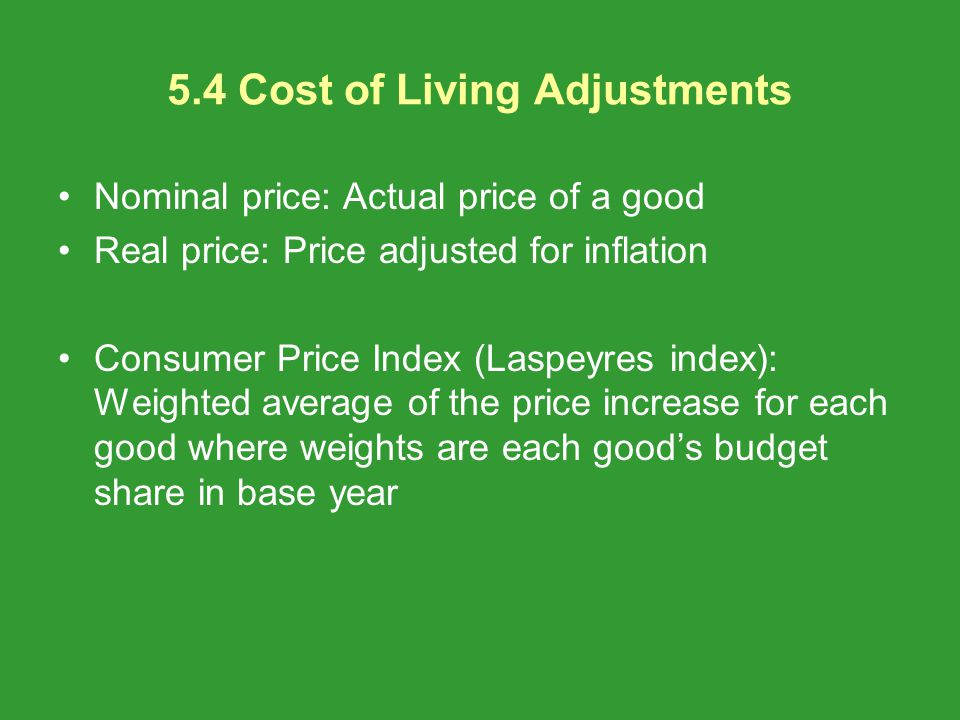 5.4 Cost of Living Adjustments