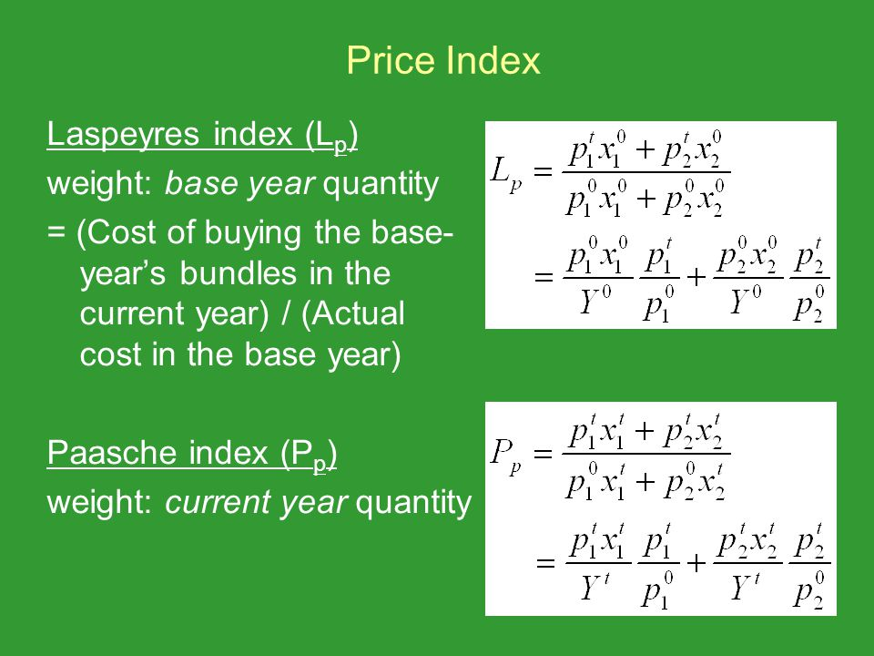 Price Index Laspeyres index (Lp) weight: base year quantity