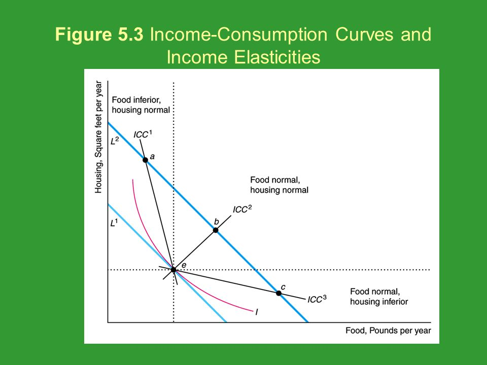 Figure 5.3 Income-Consumption Curves and Income Elasticities