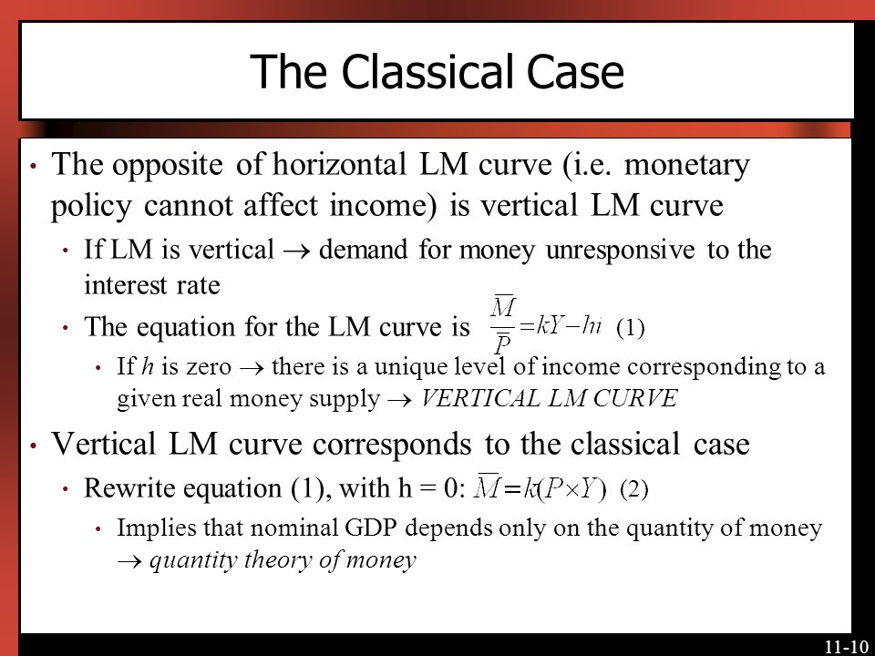 The Classical Case The opposite of horizontal LM curve (i.e. monetary policy cannot affect income) is vertical LM curve.