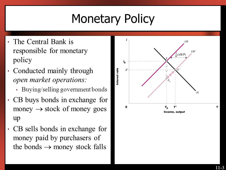 Monetary Policy The Central Bank is responsible for monetary policy