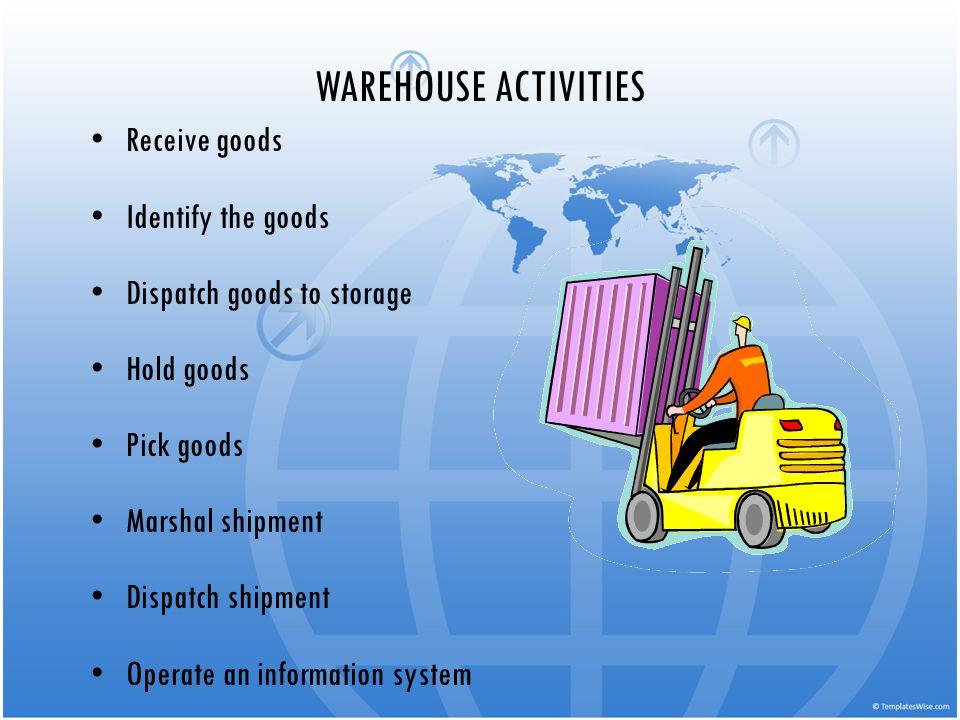 WAREHOUSE ACTIVITIES Receive goods Identify the goods