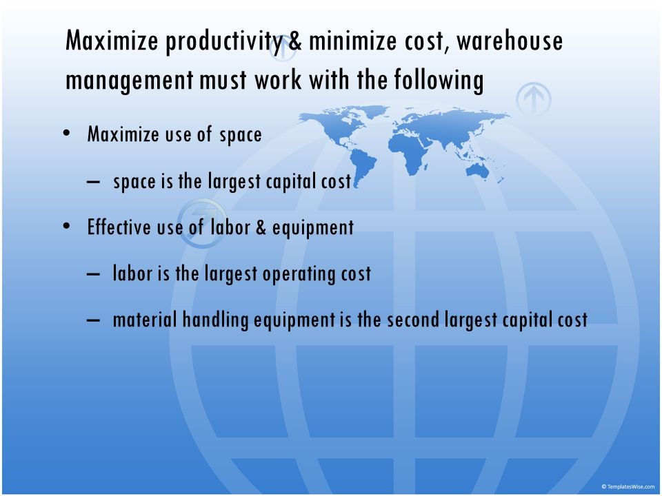 Maximize productivity & minimize cost, warehouse management must work with the following
