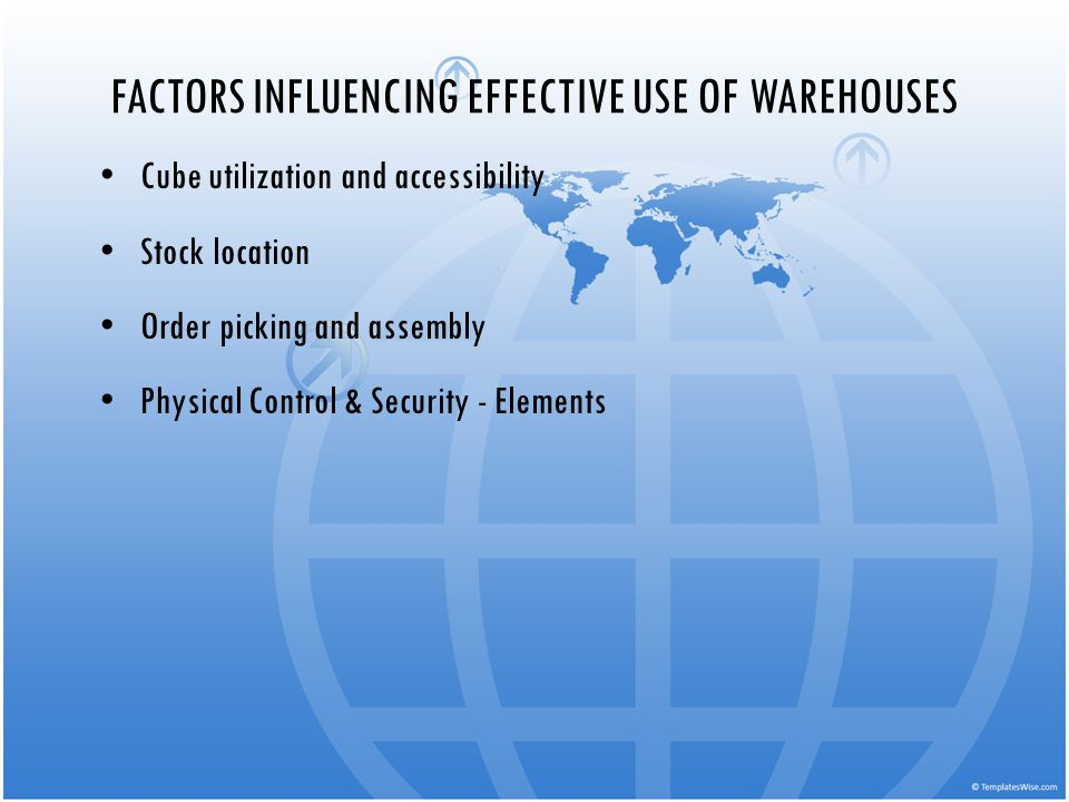 FACTORS INFLUENCING EFFECTIVE USE OF WAREHOUSES