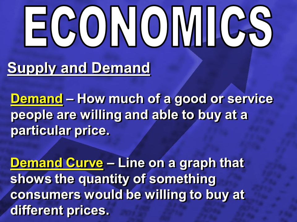 ECONOMICS Supply and Demand