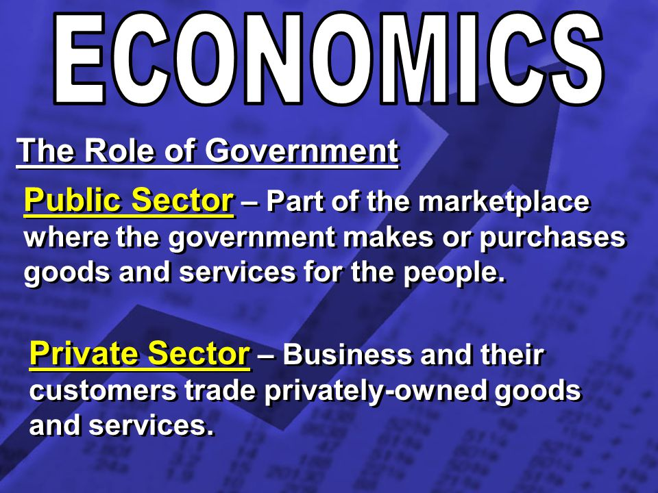 ECONOMICS The Role of Government. Public Sector – Part of the marketplace where the government makes or purchases goods and services for the people.