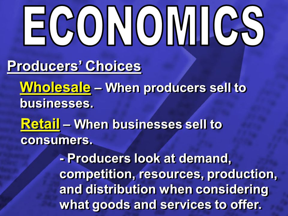Wholesale – When producers sell to businesses.