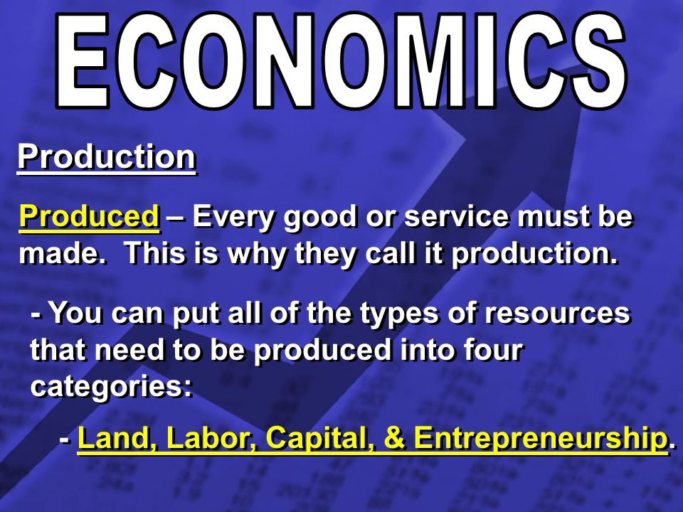 ECONOMICS Production. Produced – Every good or service must be made. This is why they call it production.