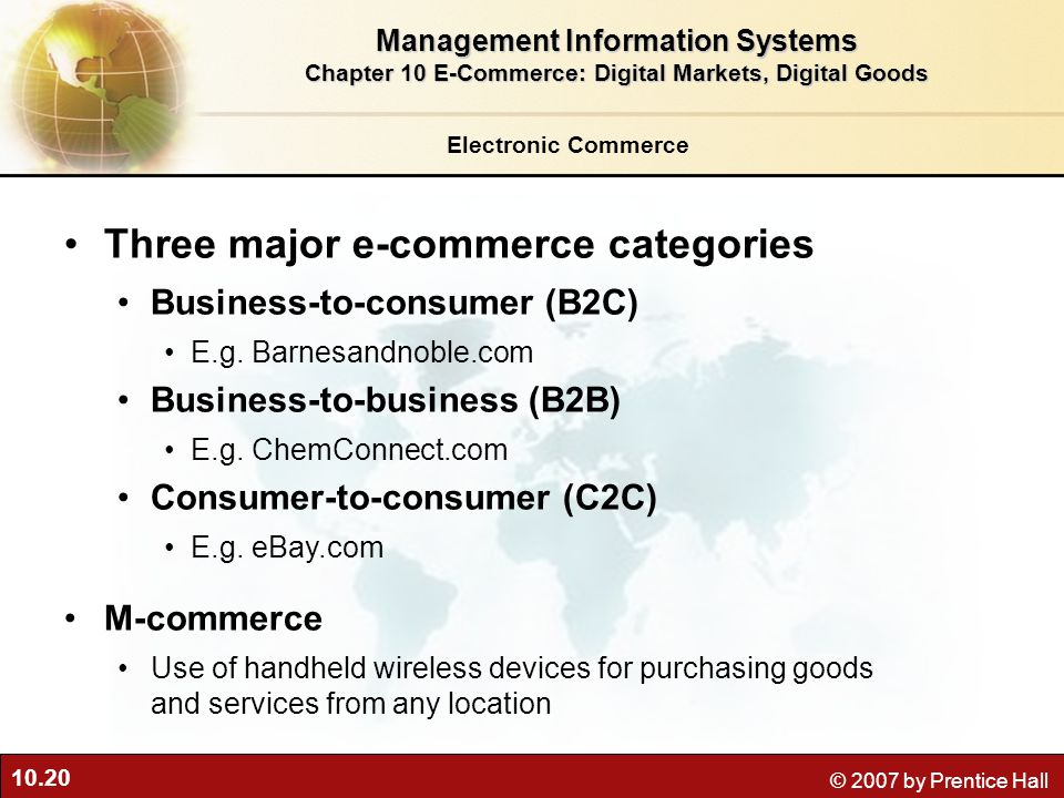 Three major e-commerce categories