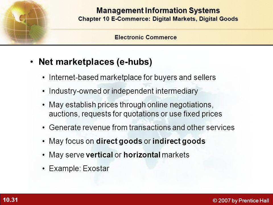 Net marketplaces (e-hubs)