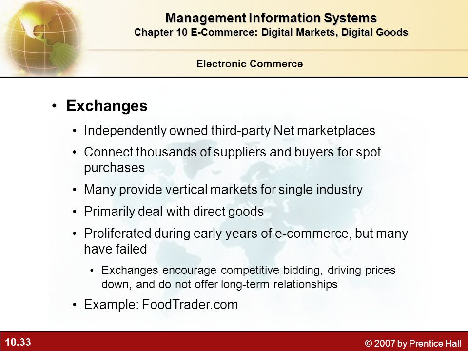 Exchanges Management Information Systems