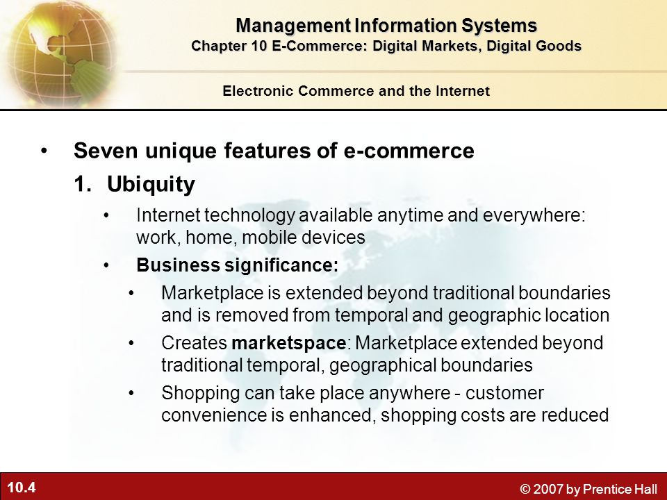 Seven unique features of e-commerce Ubiquity