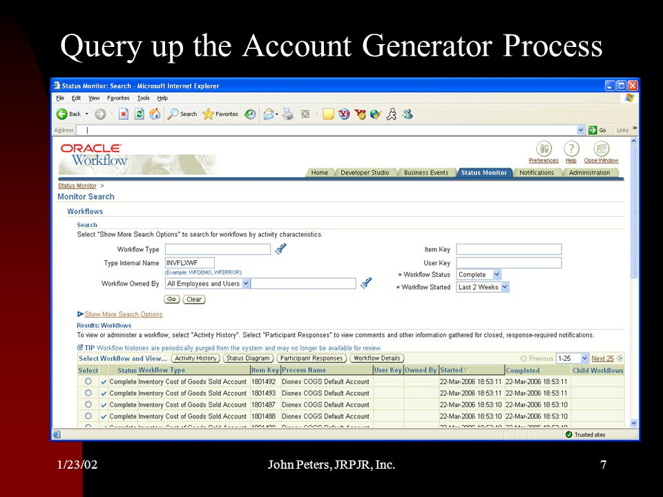 Query up the Account Generator Process