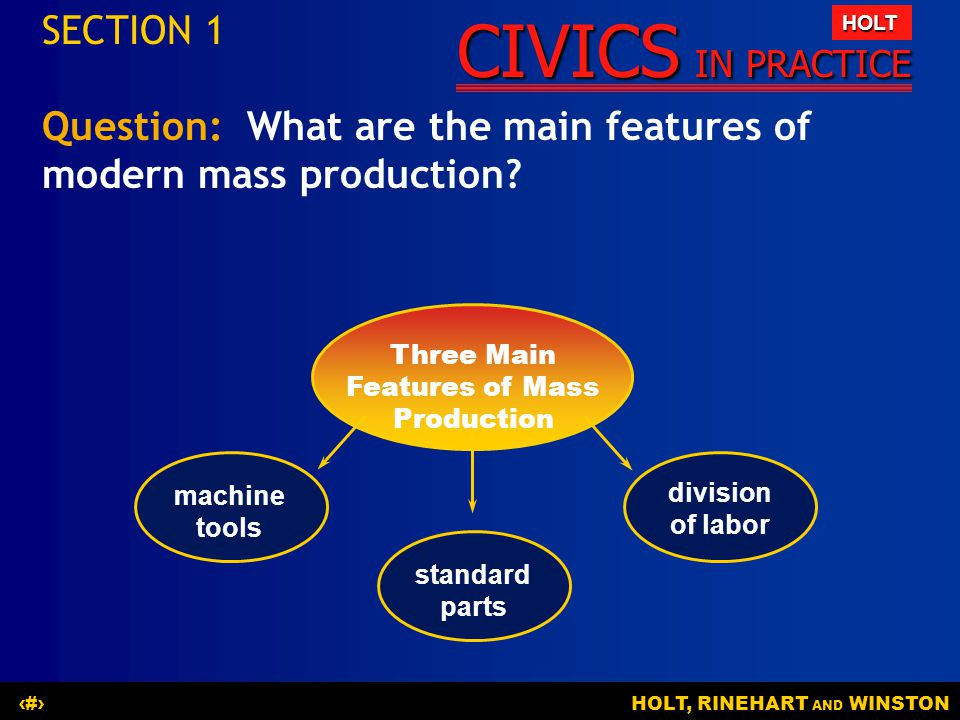 Three Main Features of Mass Production