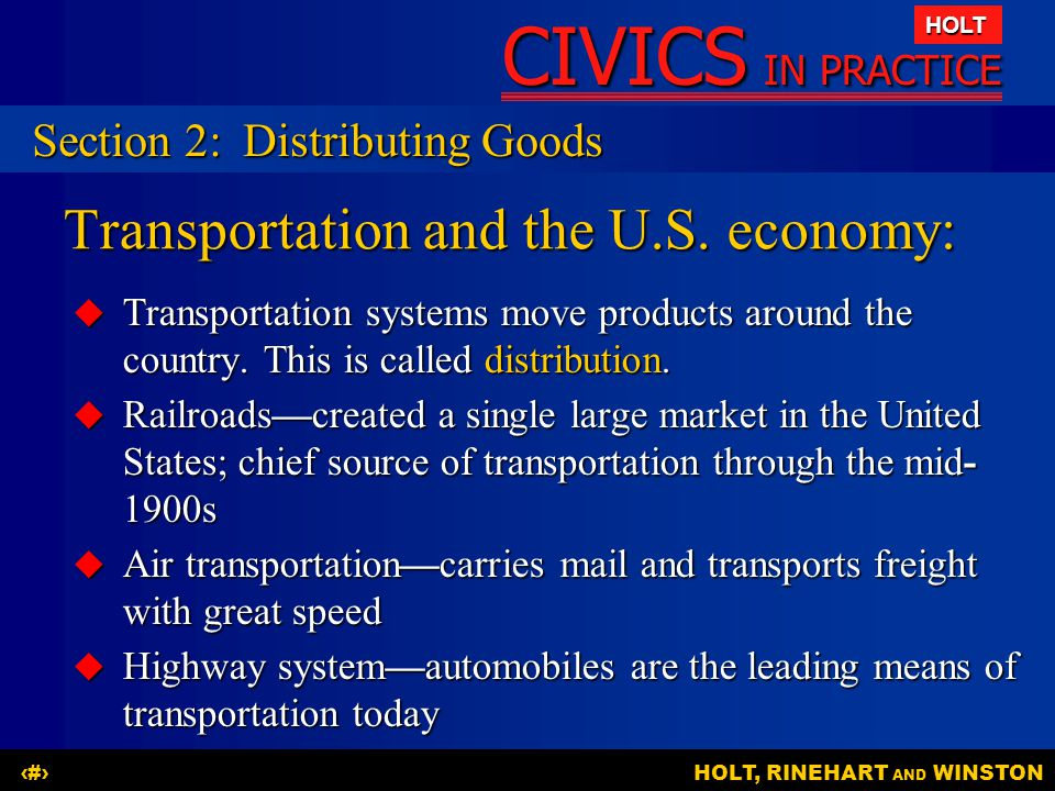 Transportation and the U.S. economy: