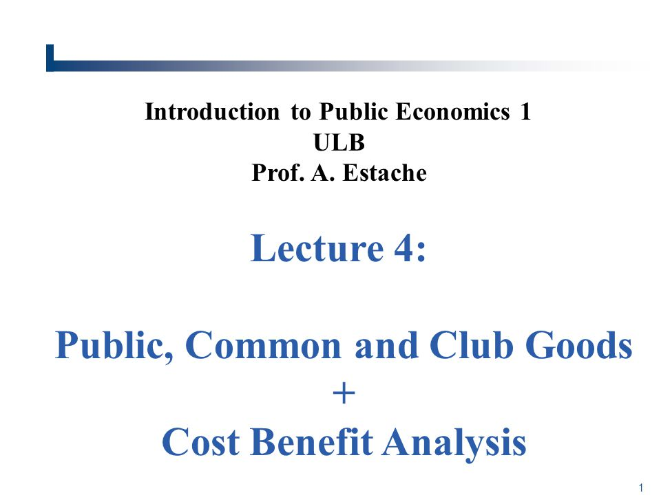 Introduction to Public Economics 1 ULB Prof. A