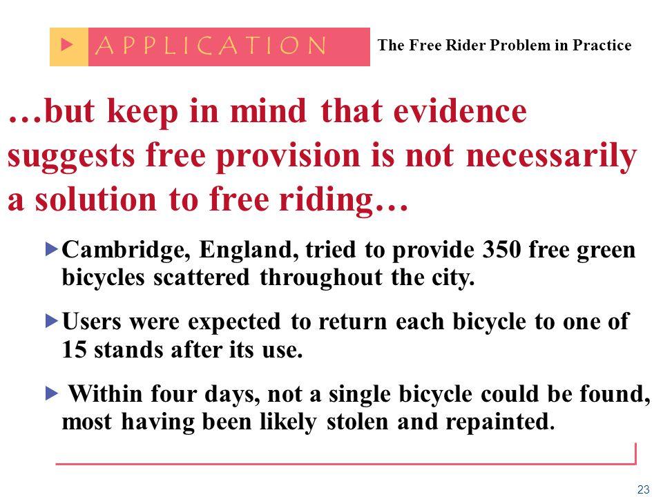 A P P L I C A T I O N. The Free Rider Problem in Practice.