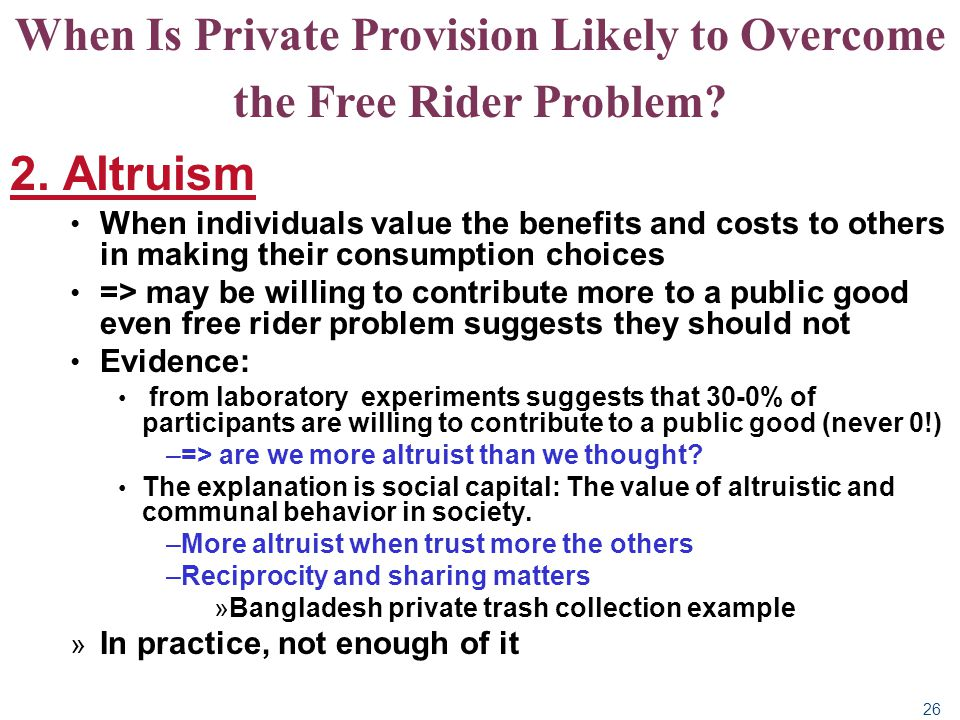 When Is Private Provision Likely to Overcome