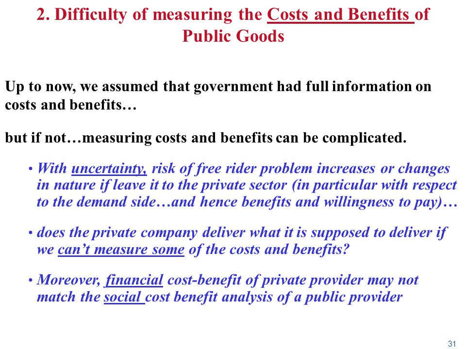 2. Difficulty of measuring the Costs and Benefits of Public Goods