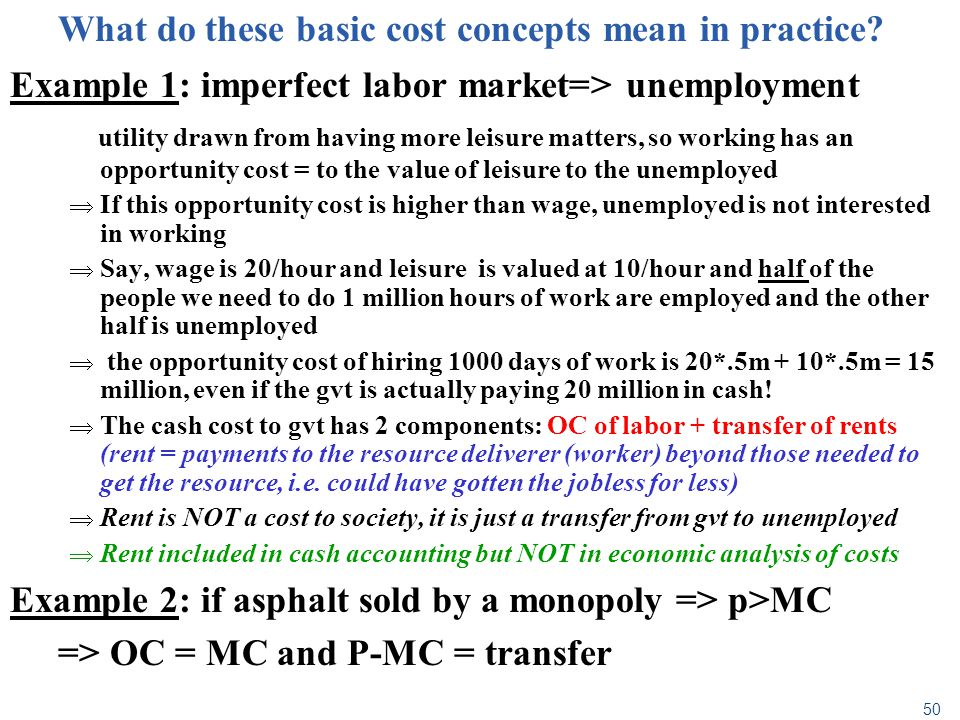 What do these basic cost concepts mean in practice
