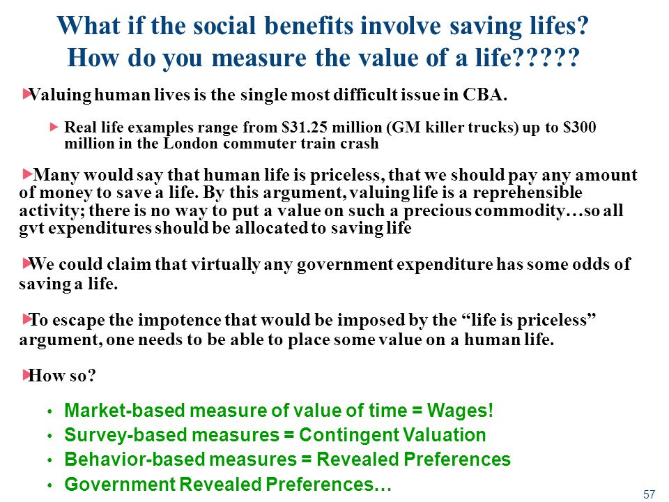 What if the social benefits involve saving lifes