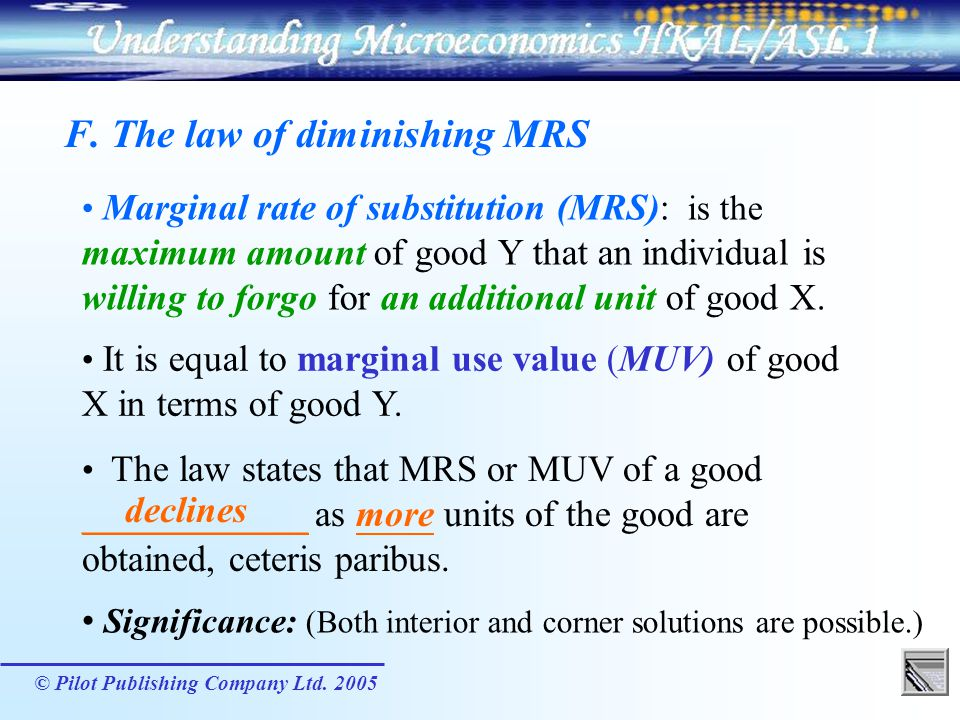 F. The law of diminishing MRS