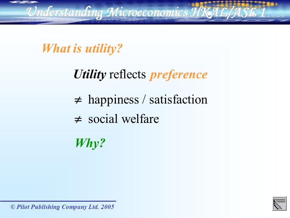 Utility reflects preference