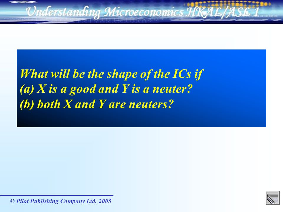 What will be the shape of the ICs if (a) X is a good and Y is a neuter