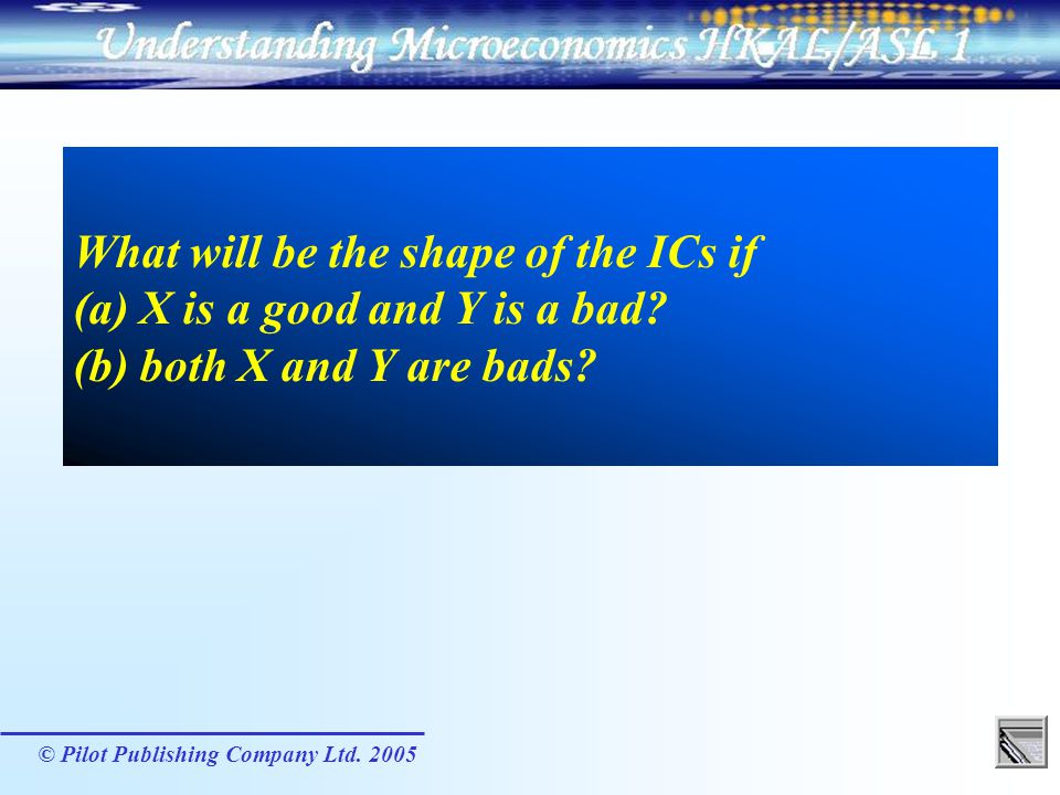 What will be the shape of the ICs if (a) X is a good and Y is a bad