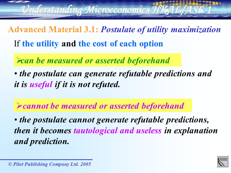 Advanced Material 3.1: Postulate of utility maximization
