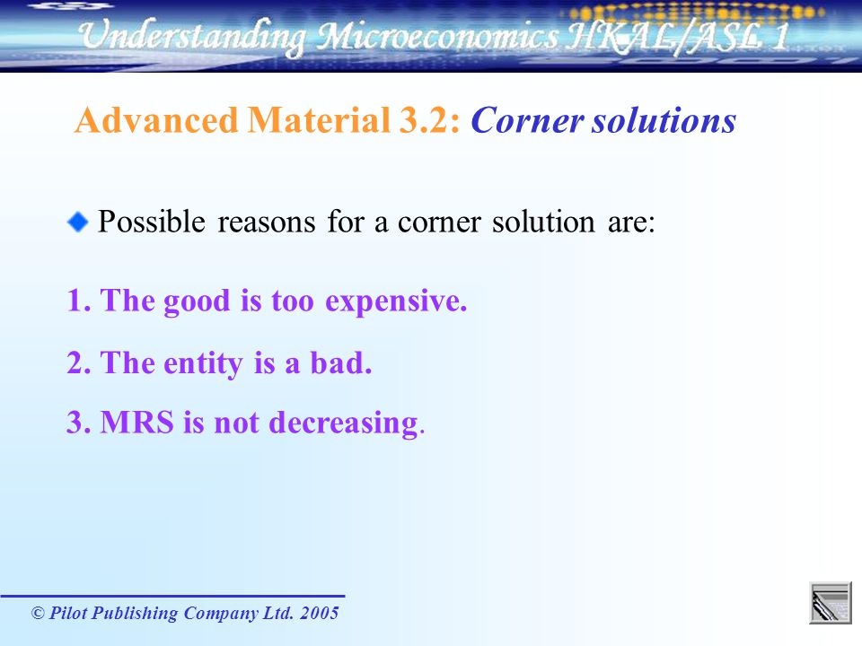 Advanced Material 3.2: Corner solutions