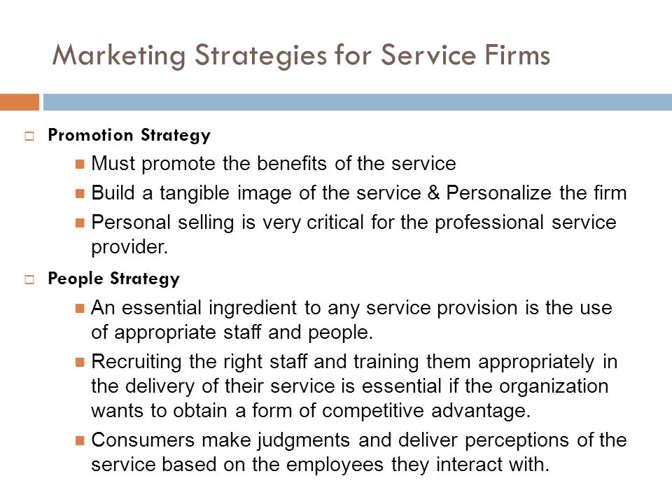 Marketing Strategies for Service Firms