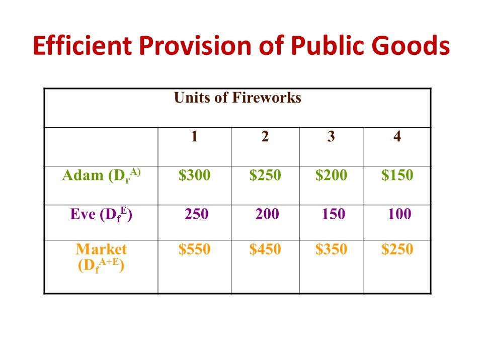 Efficient Provision of Public Goods