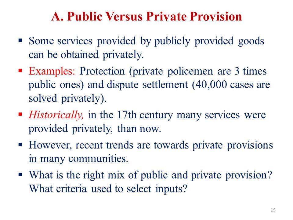 A. Public Versus Private Provision