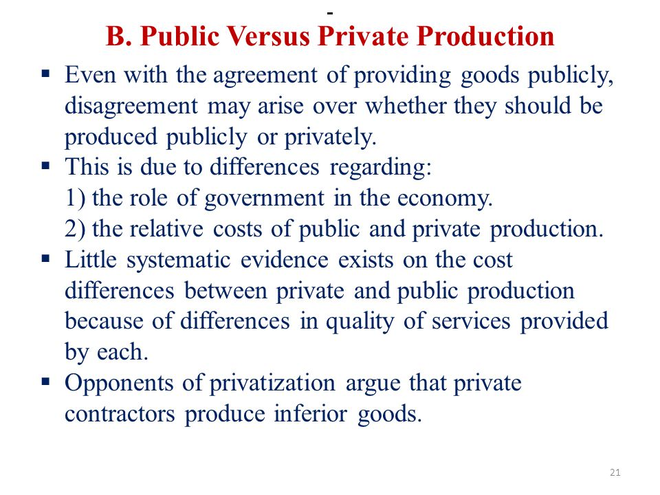 B. Public Versus Private Production
