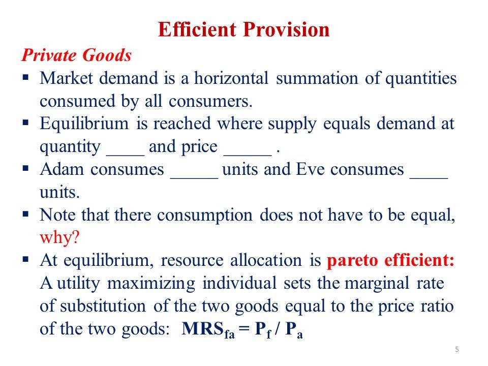Efficient Provision Private Goods