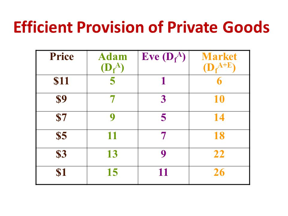 Efficient Provision of Private Goods