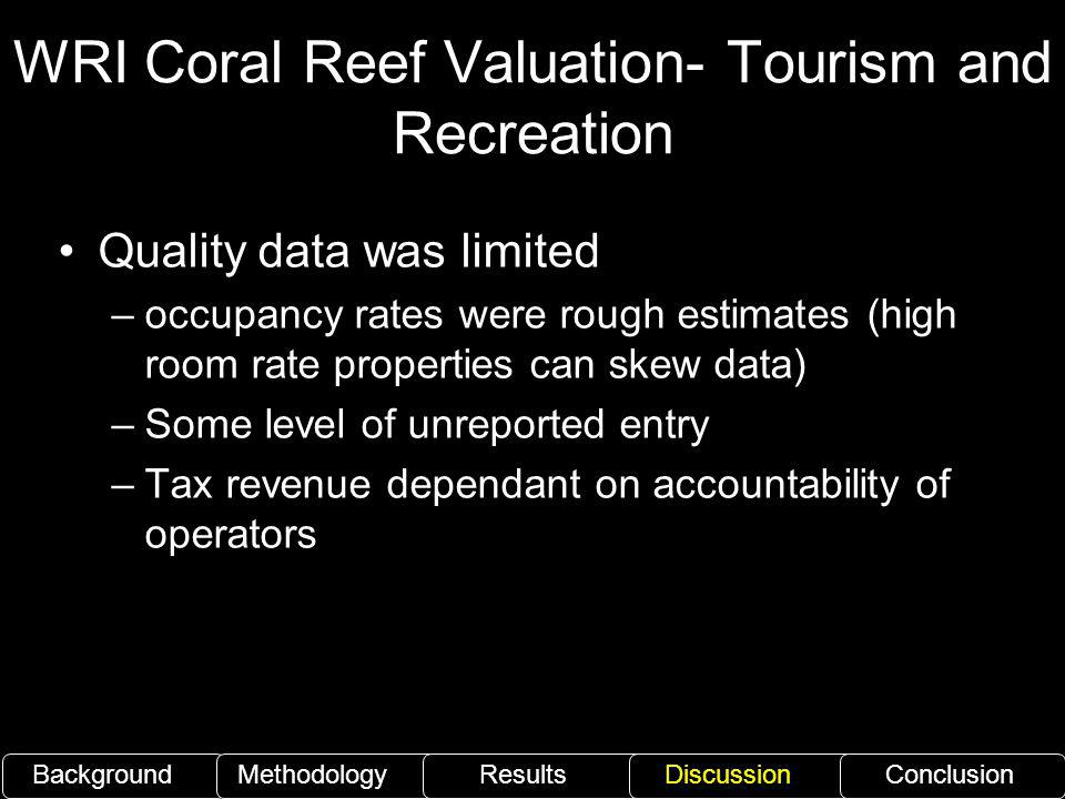 WRI Coral Reef Valuation- Tourism and Recreation
