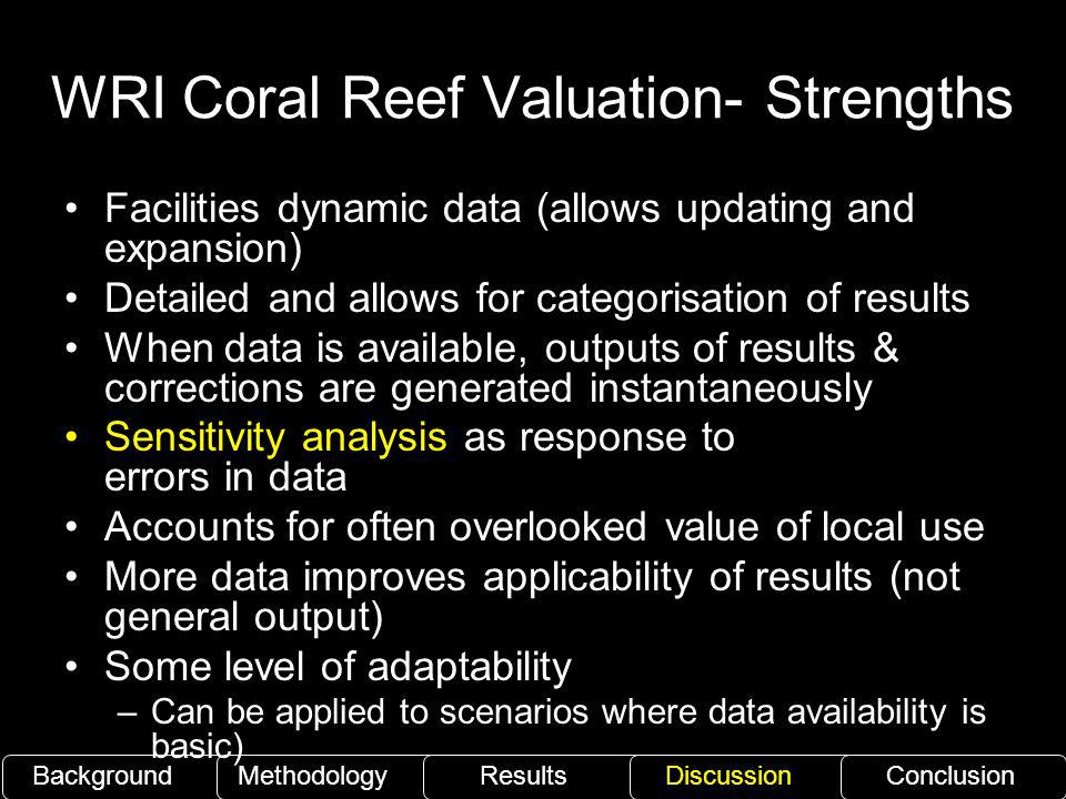 WRI Coral Reef Valuation- Strengths