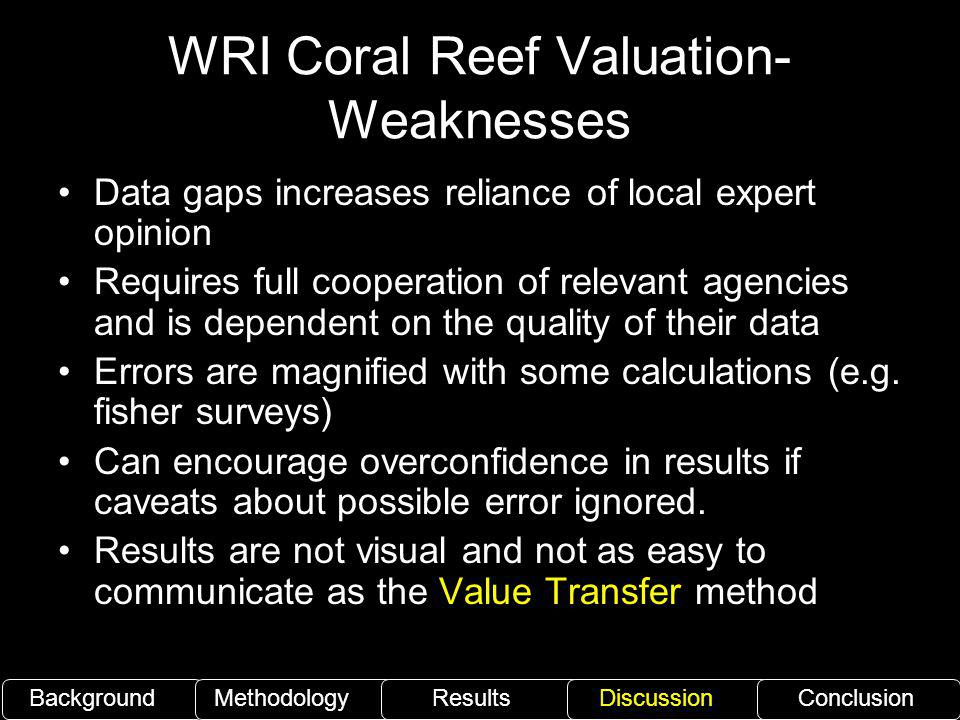 WRI Coral Reef Valuation- Weaknesses