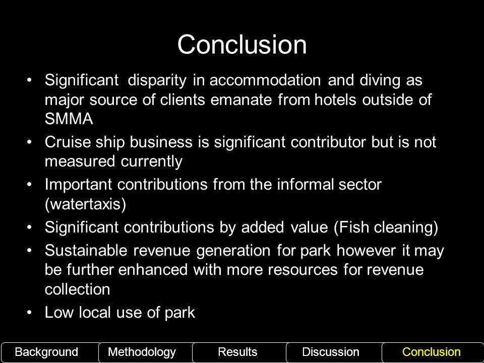 Conclusion Significant disparity in accommodation and diving as major source of clients emanate from hotels outside of SMMA.